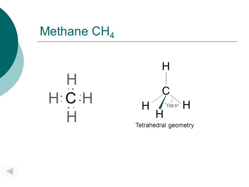 Methane CH 4 CH H H H C 109.5 o H H H H Tetrahedral geometry