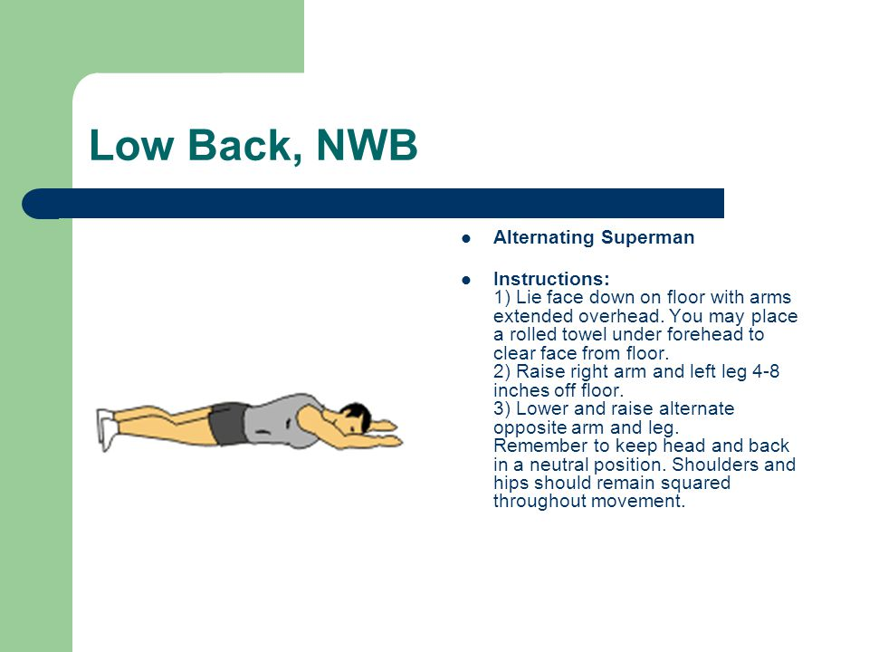 Low Back, NWB Alternating Superman Instructions: 1) Lie face down on floor with arms extended overhead. You may place a rolled towel under forehead to