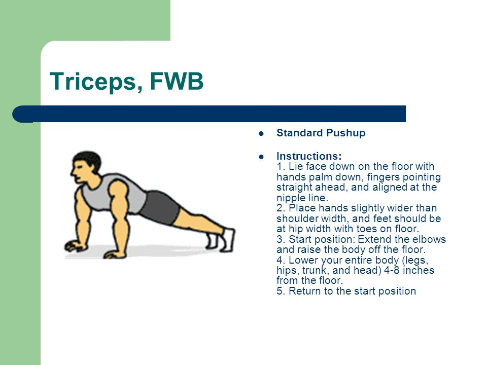 Triceps, FWB Standard Pushup Instructions: 1. Lie face down on the floor with hands palm down, fingers pointing straight ahead, and aligned at the nip