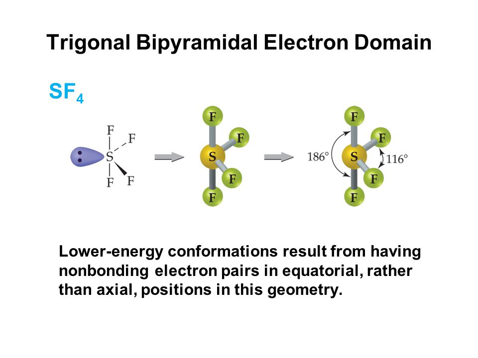 Trigonal Bipyramidal Electron Domain Lower-energy conformations result from having nonbonding electron pairs in equatorial, rather than axial, positions in this geometry.