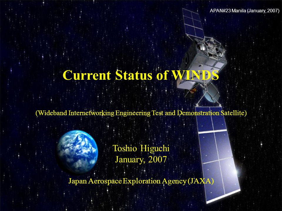 21 Japan Aerospace Exploration Agency Back Bone Patch Access Patch Digital Divide Free Multicast Back up for Back bone in case of contingency ISPIX In case of disaster : Image of stricken area Information to suffers Broad Band Internet E-learning among multi points Contents distribution High speed Internet service with small terminals Temporary link for special events Potential Application of WINDS