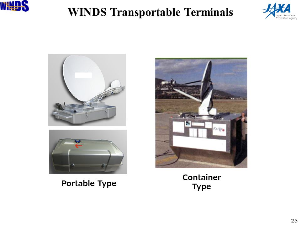 26 Japan Aerospace Exploration Agency Container Type Portable Type WINDS Transportable Terminals