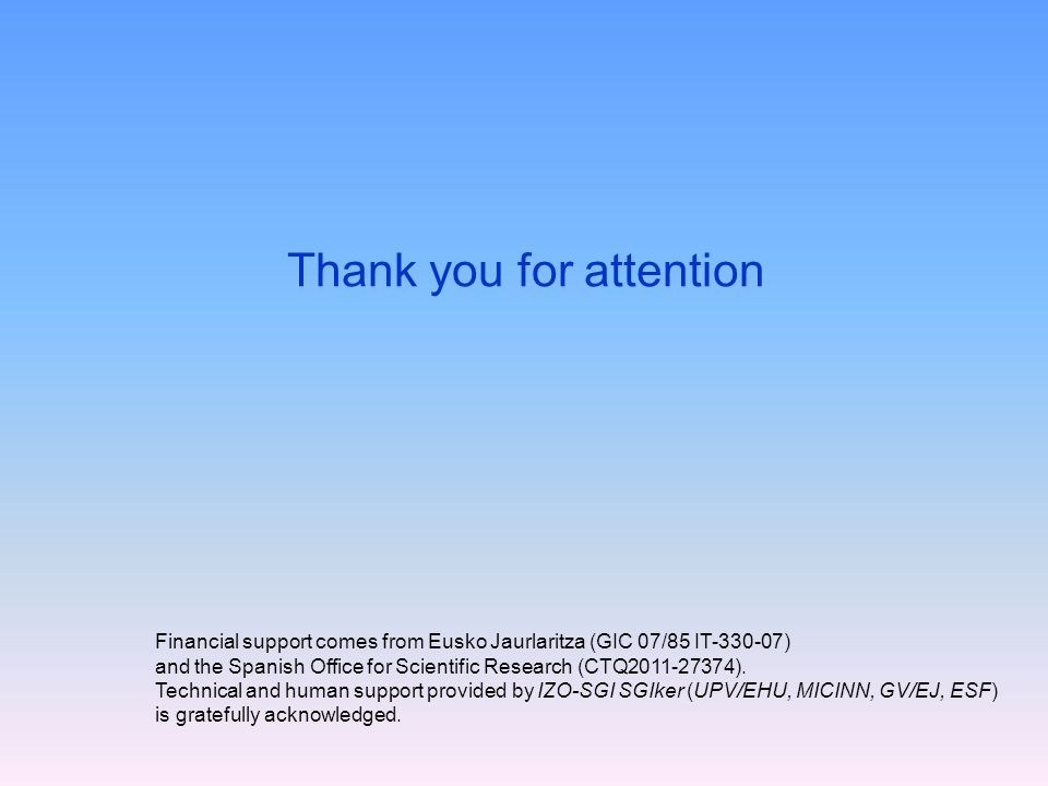 Thank you for attention Financial support comes from Eusko Jaurlaritza (GIC 07/85 IT-330-07) and the Spanish Office for Scientific Research (CTQ2011-27374).
