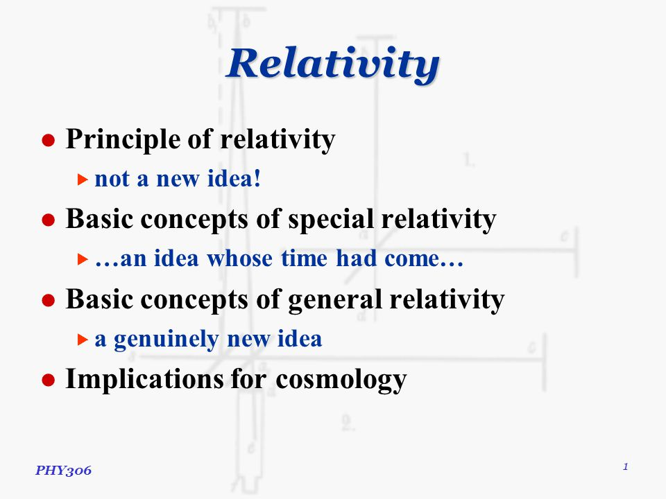 PHY306 1 Relativity Principle of relativity  not a new idea.