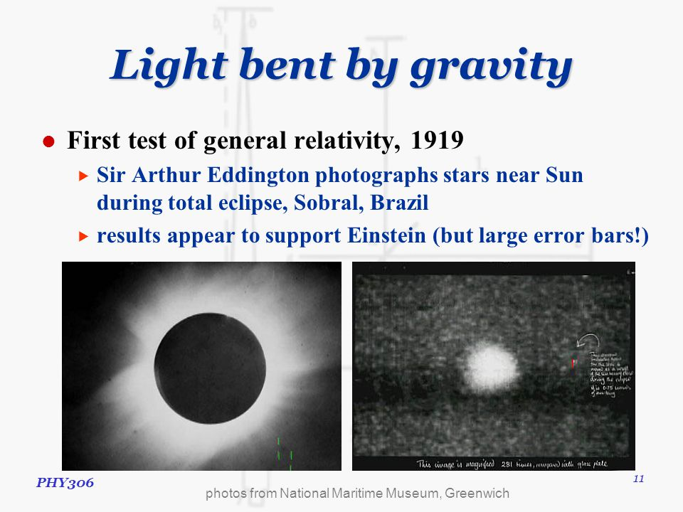 PHY306 11 Light bent by gravity First test of general relativity, 1919  Sir Arthur Eddington photographs stars near Sun during total eclipse, Sobral, Brazil  results appear to support Einstein (but large error bars!) photos from National Maritime Museum, Greenwich