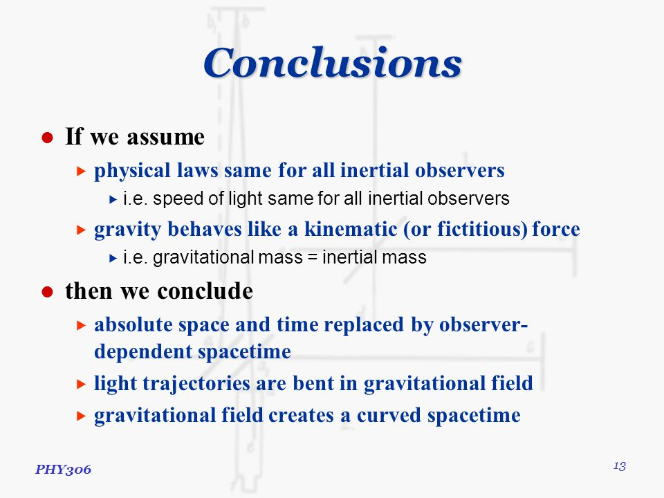 PHY306 13 Conclusions If we assume  physical laws same for all inertial observers  i.e.