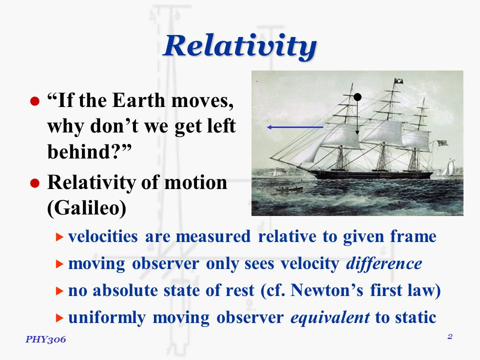 PHY306 3 Relativity Principle of relativity  physical laws hold for all observers in inertial frames  inertial frame = one in rest or uniform motion  consider observer B moving at v x relative to A  x B = x A – v x t  y B = y A ; z B = z A ; t B = t A  V B = dx B /dt B = V A – v x  a B = dV B /dt B = a A Using this  Newton's laws of motion  OK, same acceleration  Newton's law of gravity  OK, same acceleration  Maxwell's equations of electromagnetism  c = 1/√μ 0 ε 0 – not frame dependent  but c = speed of light – frame dependent  problem!