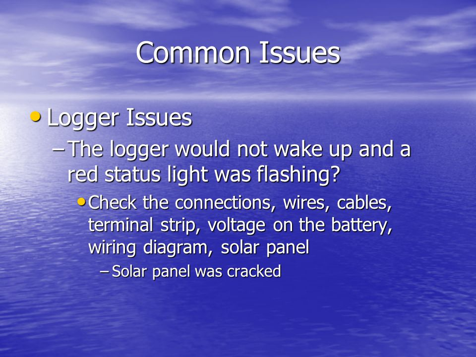 Common Issues Logger Issues Logger Issues –The logger would not wake up and a red status light was flashing.