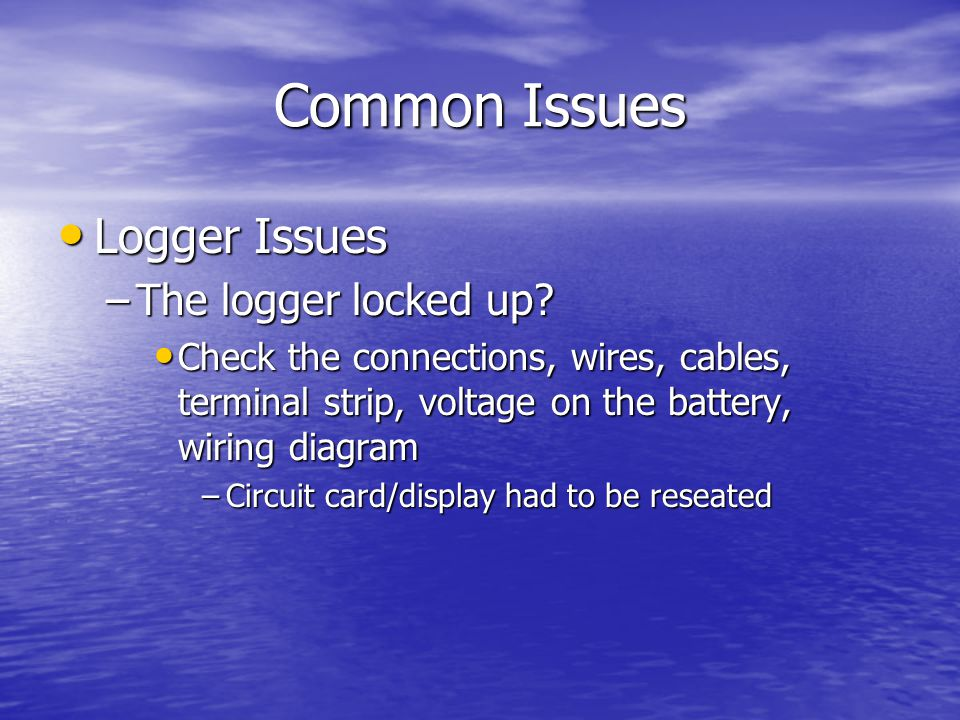 Common Issues Logger Issues Logger Issues –The logger locked up.