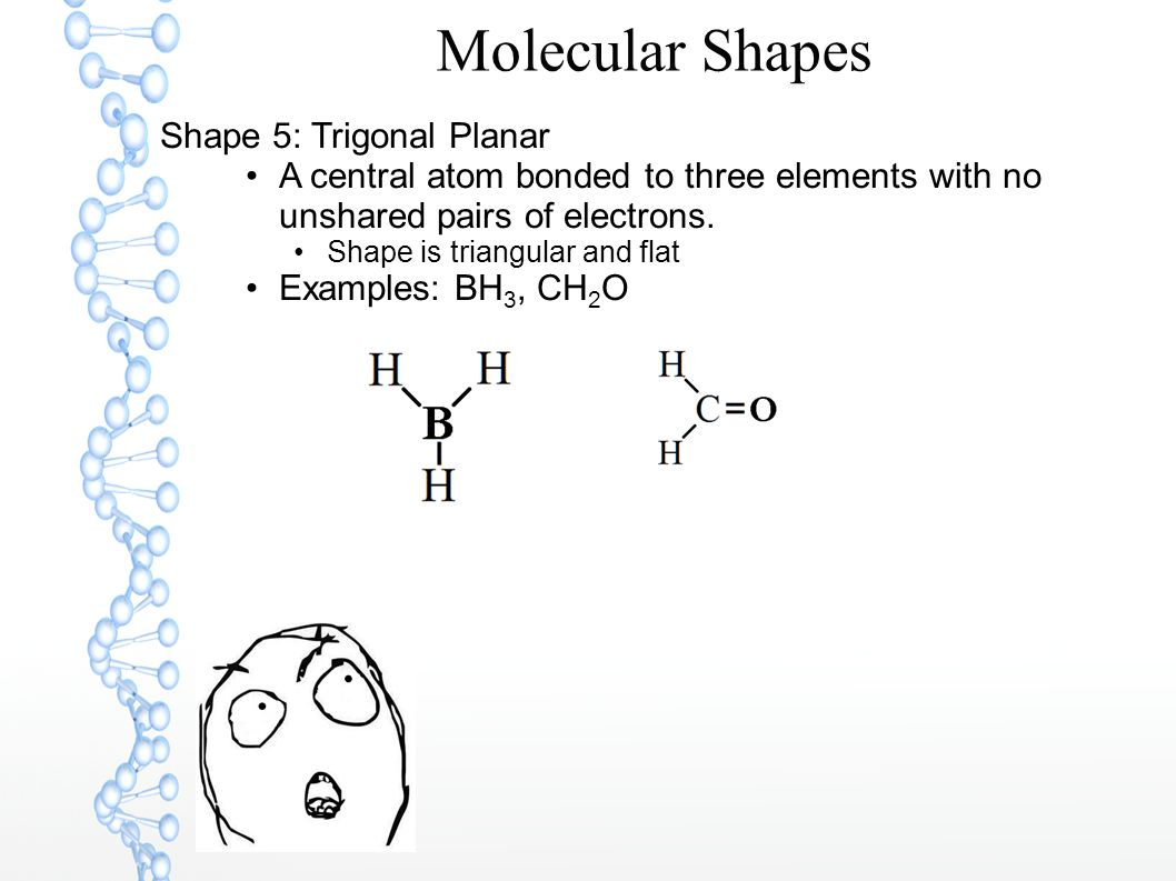 Molecular Shapes Shape 5: Trigonal Planar A central atom bonded to three elements with no unshared pairs of electrons. Shape is triangular and flat Ex