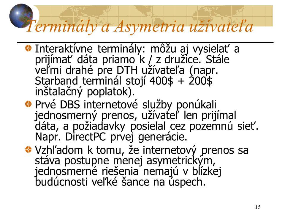 15 Terminály a Asymetria užívateľa Interaktívne terminály: môžu aj vysielať a prijímať dáta priamo k / z družice.