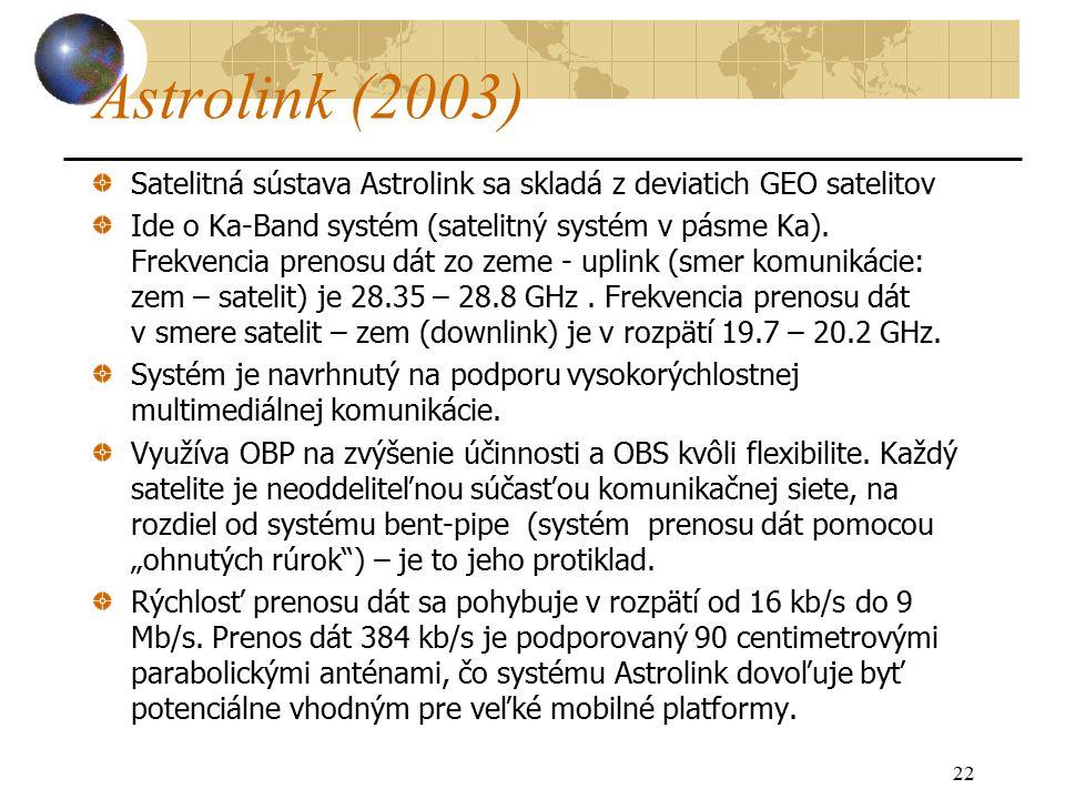 22 Astrolink (2003) Satelitná sústava Astrolink sa skladá z deviatich GEO satelitov Ide o Ka-Band systém (satelitný systém v pásme Ka).
