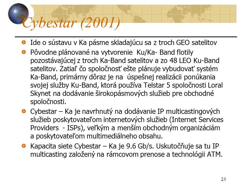 23 Cybestar (2001) Ide o sústavu v Ka pásme skladajúcu sa z troch GEO satelitov Pôvodne plánované na vytvorenie Ku/Ka- Band flotily pozostávajúcej z troch Ka-Band satelitov a zo 48 LEO Ku-Band satelitov.