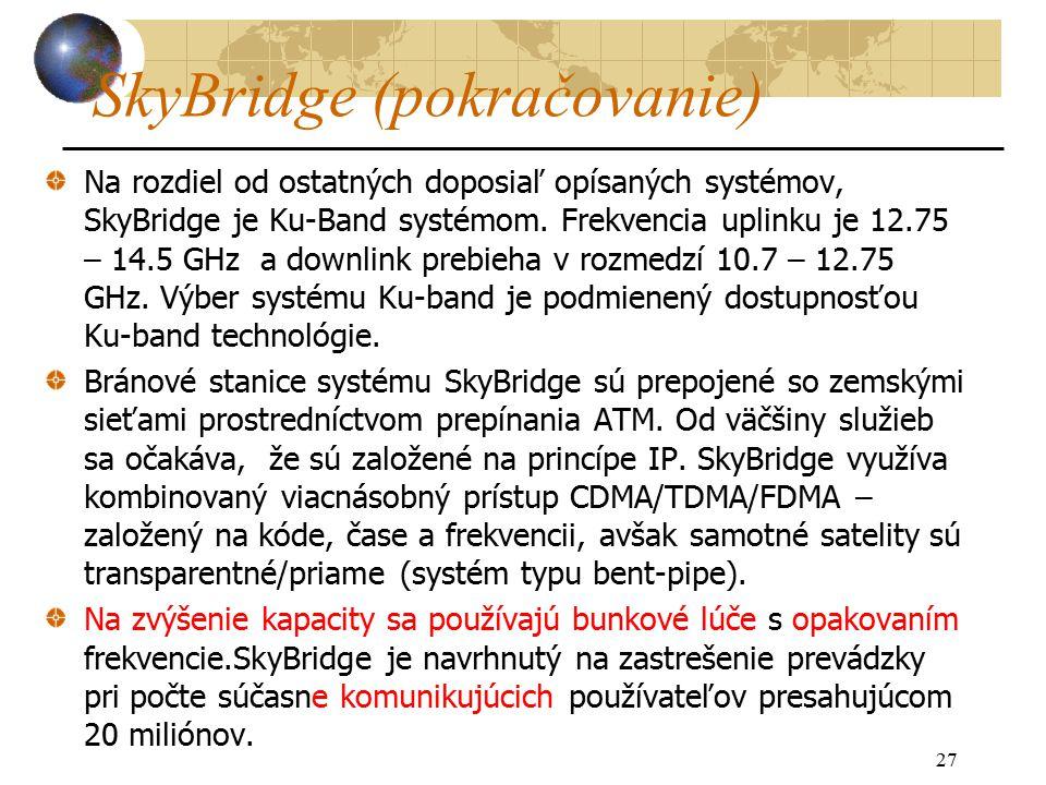27 SkyBridge (pokračovanie) Na rozdiel od ostatných doposiaľ opísaných systémov, SkyBridge je Ku-Band systémom.