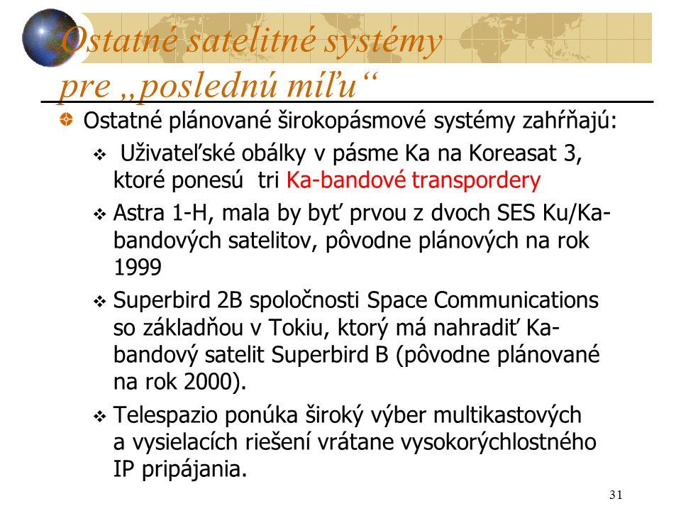 """31 Ostatné satelitné systémy pre """"poslednú míľu Ostatné plánované širokopásmové systémy zahŕňajú:  Uživateľské obálky v pásme Ka na Koreasat 3, ktoré ponesú tri Ka-bandové transpordery  Astra 1-H, mala by byť prvou z dvoch SES Ku/Ka- bandových satelitov, pôvodne plánových na rok 1999  Superbird 2B spoločnosti Space Communications so základňou v Tokiu, ktorý má nahradiť Ka- bandový satelit Superbird B (pôvodne plánované na rok 2000)."""