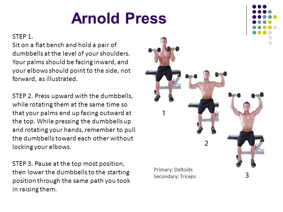 Arnold Press STEP 1. Sit on a flat bench and hold a pair of dumbbells at the level of your shoulders. Your palms should be facing inward, and your elb