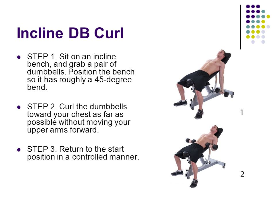 Incline DB Curl STEP 1. Sit on an incline bench, and grab a pair of dumbbells. Position the bench so it has roughly a 45-degree bend. STEP 2. Curl the