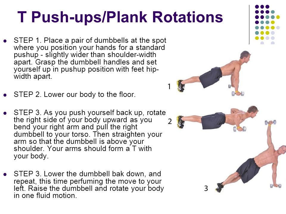 T Push-ups/Plank Rotations STEP 1. Place a pair of dumbbells at the spot where you position your hands for a standard pushup - slightly wider than sho