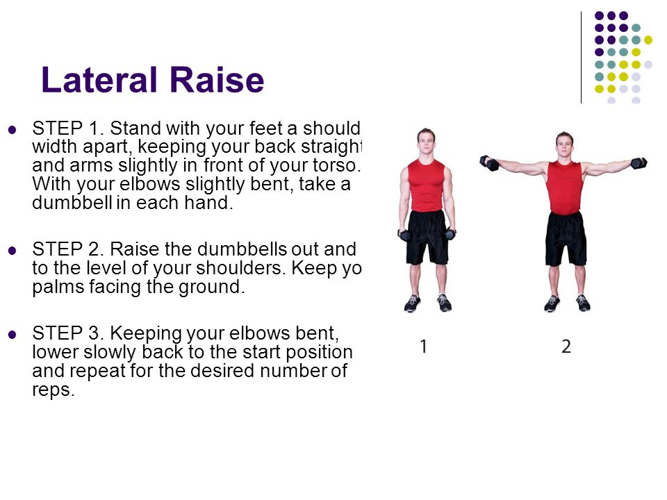 Lateral Raise STEP 1. Stand with your feet a shoulder- width apart, keeping your back straight and arms slightly in front of your torso. With your elb