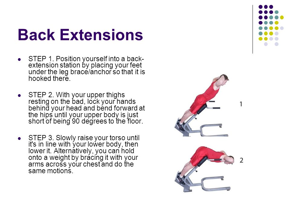 Back Extensions STEP 1. Position yourself into a back- extension station by placing your feet under the leg brace/anchor so that it is hooked there. S