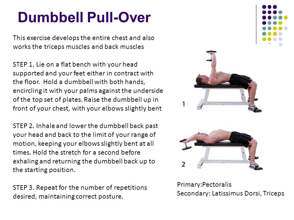 Dumbbell Pull-Over This exercise develops the entire chest and also works the triceps muscles and back muscles STEP 1. Lie on a flat bench with your h