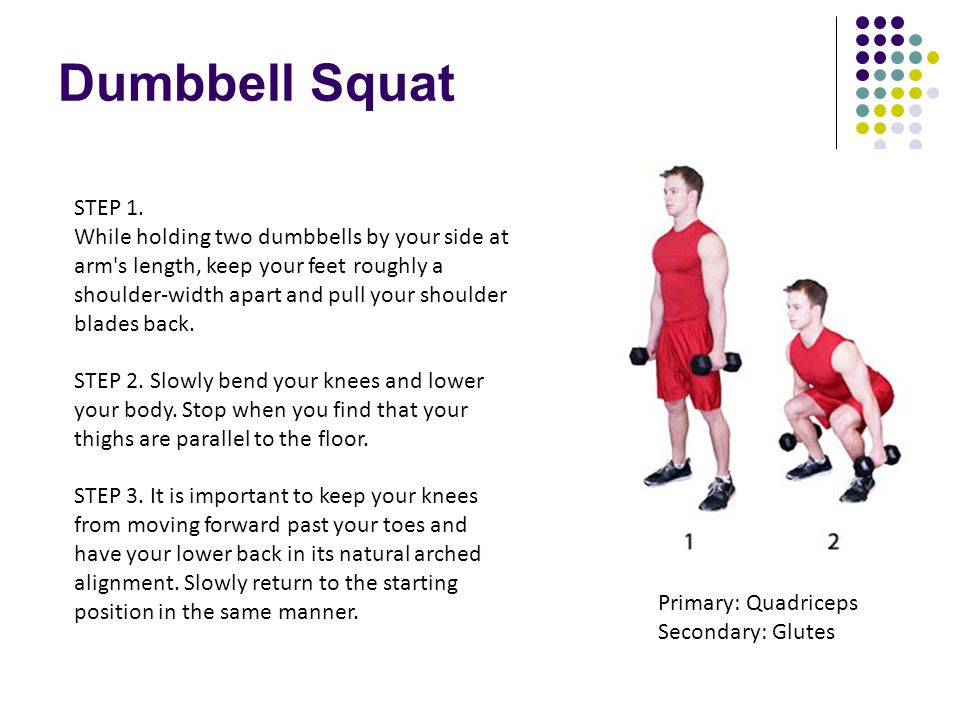 Dumbbell Squat STEP 1. While holding two dumbbells by your side at arm's length, keep your feet roughly a shoulder-width apart and pull your shoulder