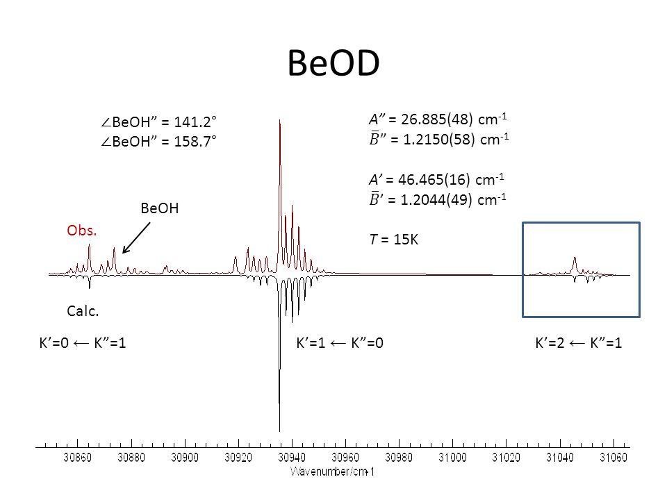 BeOD Obs. Calc. BeOH K'=0 ← K =1K'=1 ← K =0K'=2 ← K =1 ∠ BeOH = 141.2° ∠ BeOH = 158.7°