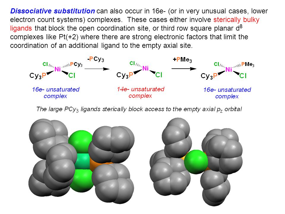 Dissociative substitution can also occur in 16e- (or in very unusual cases, lower electron count systems) complexes. These cases either involve steric