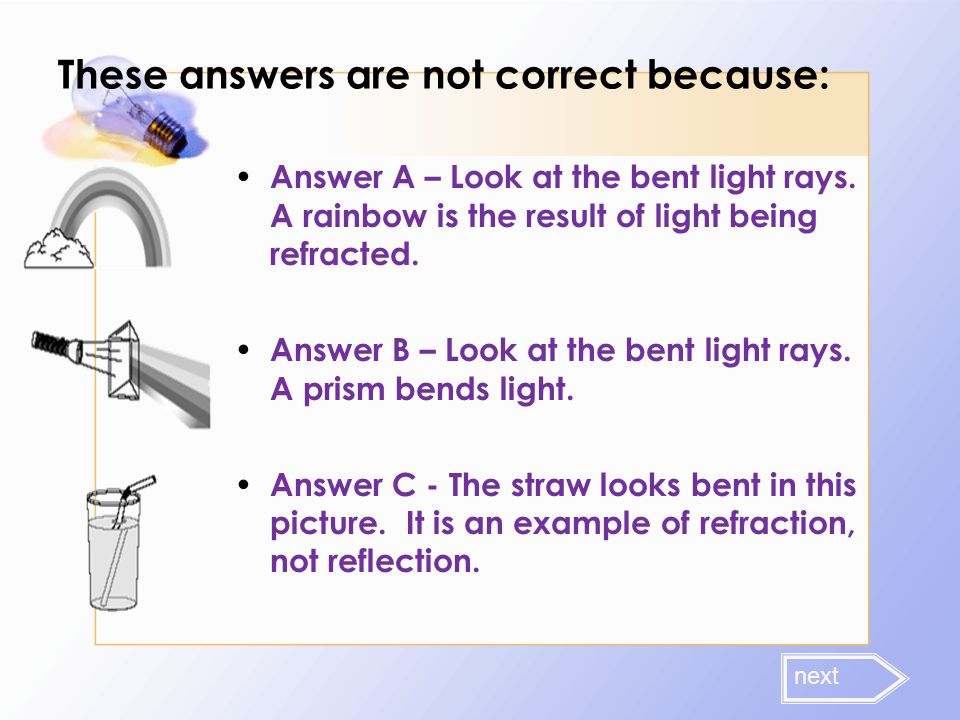 These answers are not correct because: Answer A – Look at the bent light rays. A rainbow is the result of light being refracted. Answer B – Look at th