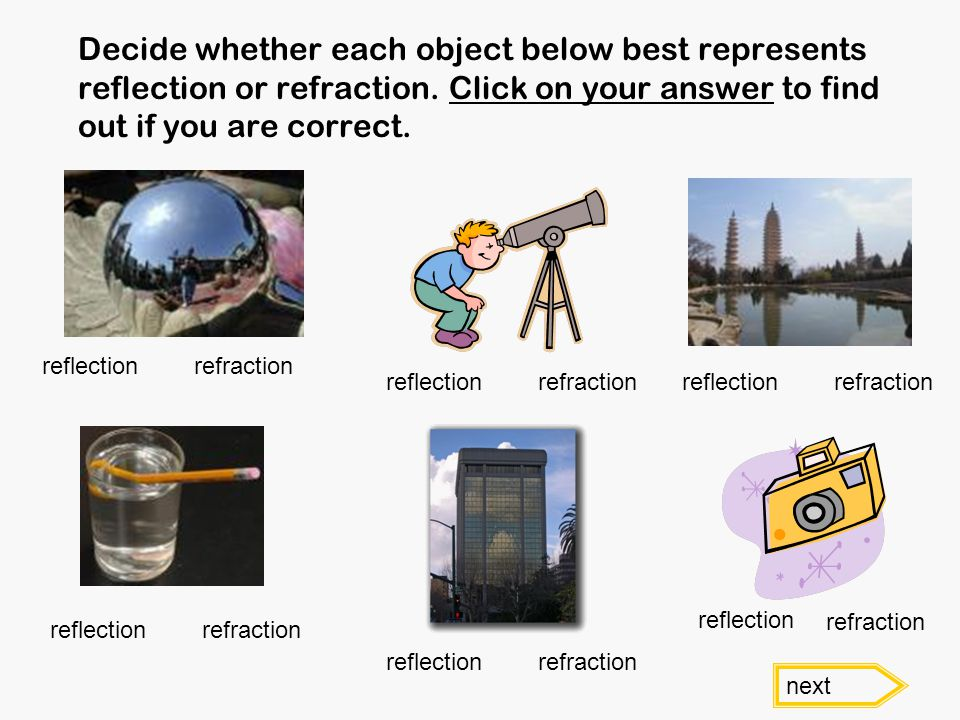 Decide whether each object below best represents reflection or refraction. Click on your answer to find out if you are correct. reflectionrefraction n