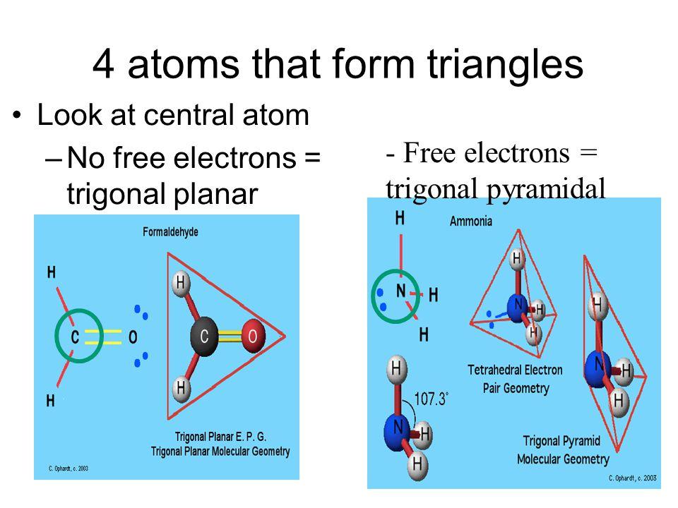 4 atoms that form triangles Look at central atom –No free electrons = trigonal planar - Free electrons = trigonal pyramidal