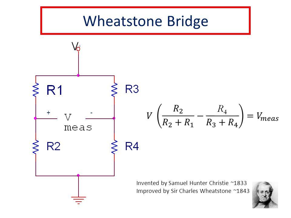 Wheatstone Bridge +- Invented by Samuel Hunter Christie ~1833 Improved by Sir Charles Wheatstone ~1843