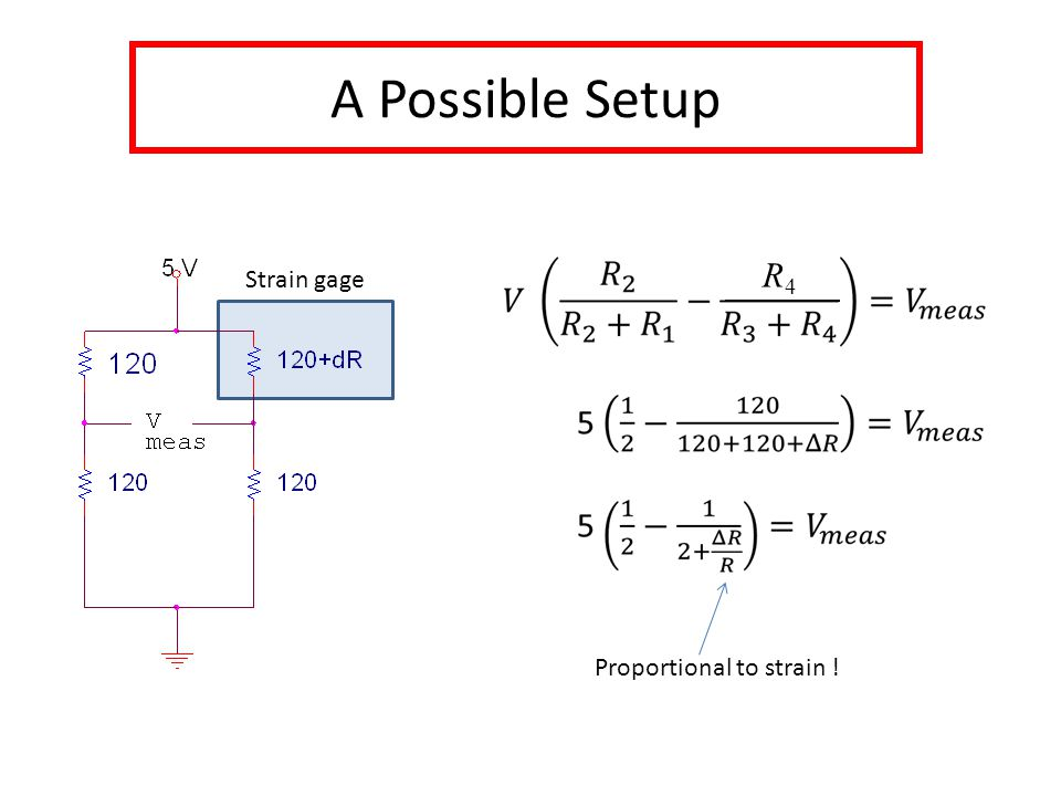 A Possible Setup Strain gage Proportional to strain ! R4R4