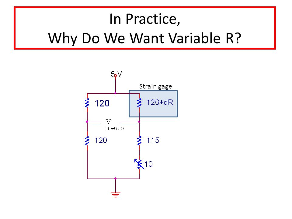 In Practice, Why Do We Want Variable R Strain gage