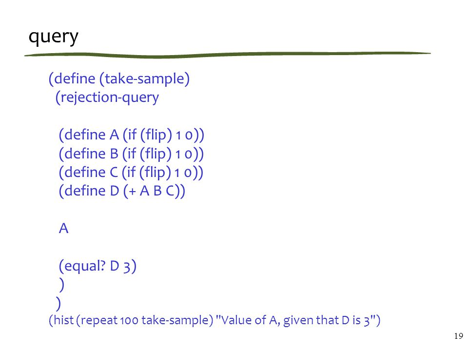 query (define (take-sample) (rejection-query (define A (if (flip) 1 0)) (define B (if (flip) 1 0)) (define C (if (flip) 1 0)) (define D (+ A B C)) A (