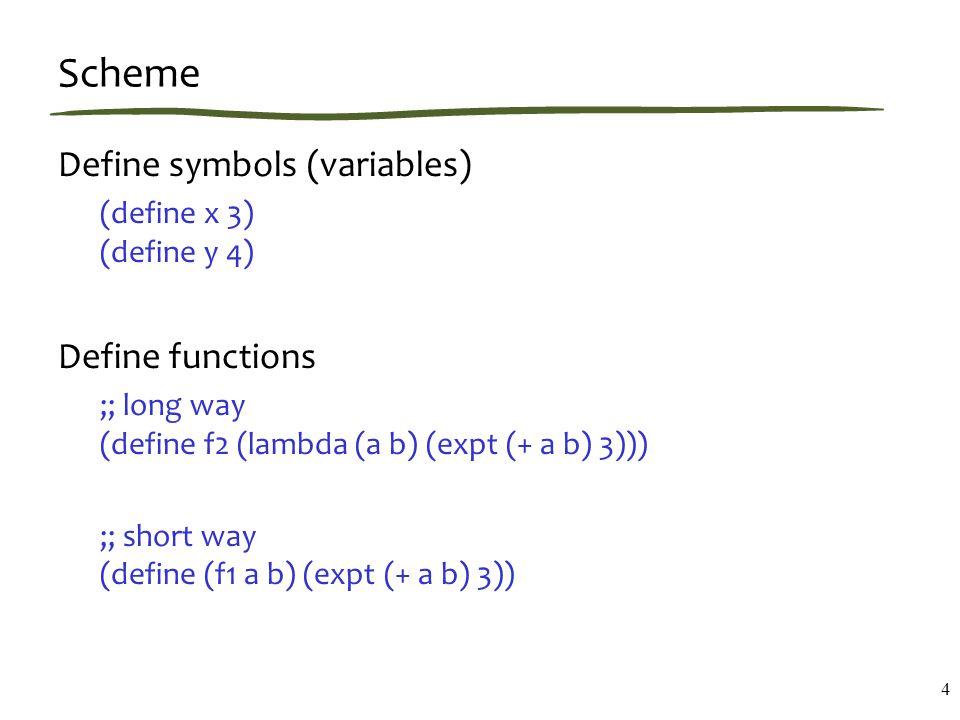 Scheme Define symbols (variables) (define x 3) (define y 4) Define functions ;; long way (define f2 (lambda (a b) (expt (+ a b) 3))) ;; short way (define (f1 a b) (expt (+ a b) 3)) 4