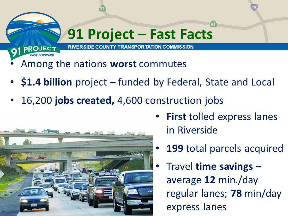 91 Project – Fast Facts Among the nations worst commutes $1.4 billion project – funded by Federal, State and Local 16,200 jobs created, 4,600 construction jobs First tolled express lanes in Riverside 199 total parcels acquired Travel time savings – average 12 min./day regular lanes; 78 min/day express lanes RIVERSIDE COUNTY TRANSPORTATION COMMISSION