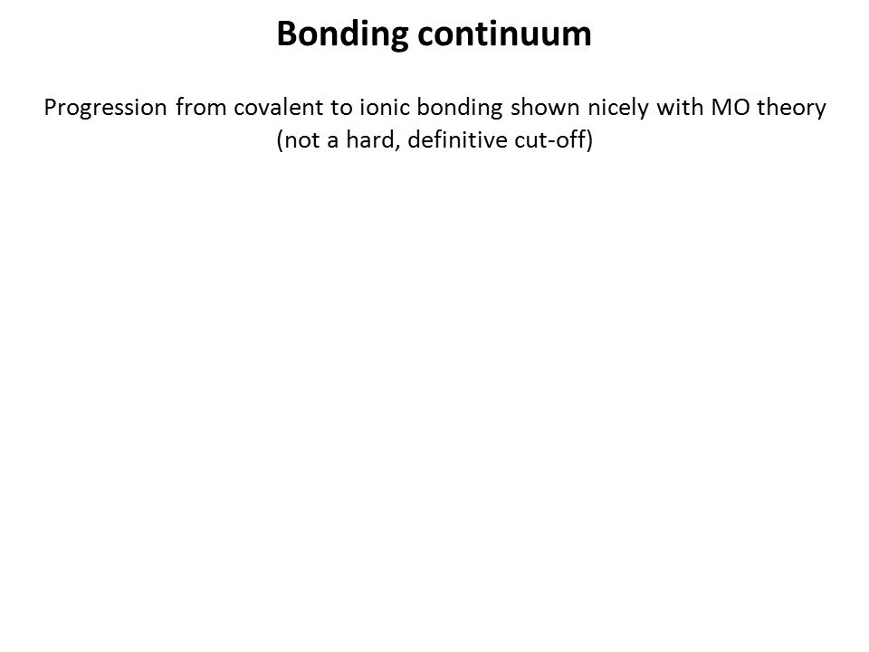 Bonding continuum Progression from covalent to ionic bonding shown nicely with MO theory (not a hard, definitive cut-off)