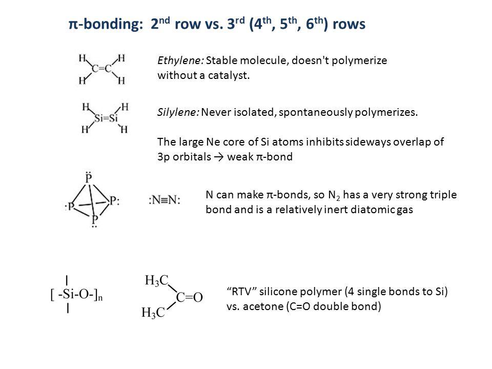 π-bonding: 2 nd row vs. 3 rd (4 th, 5 th, 6 th ) rows Ethylene: Stable molecule, doesn't polymerize without a catalyst. Silylene: Never isolated, spon