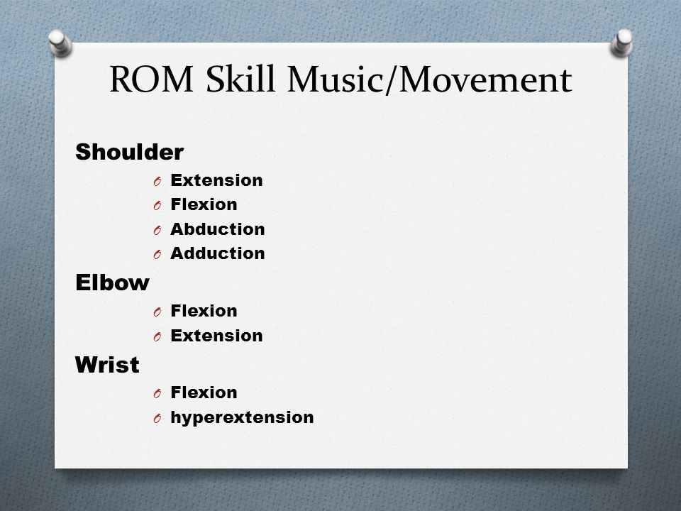 O NEVER PERFORM ROM: O if the resident is in pain O if you see swelling or redness O Be patient, sensitive, observe, provide comfort, go slowly O NYS Skill Testing will be either: O Passive ROM of Shoulder O Passive ROM to elbow and wrist O Passive ROM to Hip, Knee, Ankle O Each will be timed 4-5 min O You will be observed for all indirect care skills O You will have to provide 3 reps on correct side