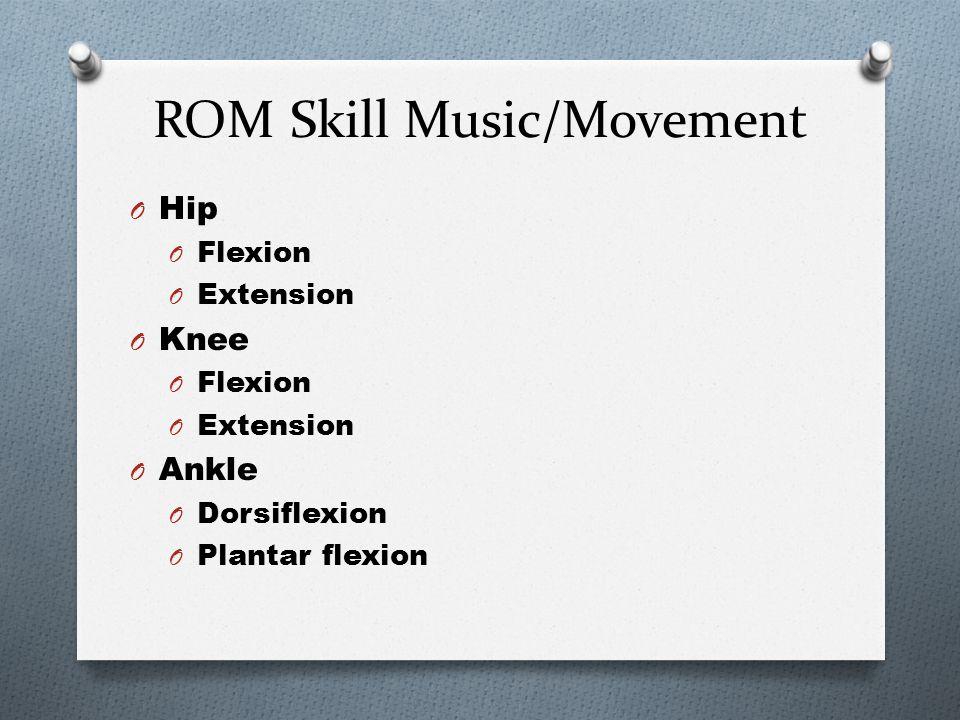 ROM Skill Music/Movement Shoulder O Extension O Flexion O Abduction O Adduction Elbow O Flexion O Extension Wrist O Flexion O hyperextension