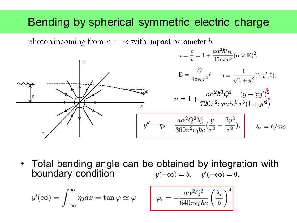 Bending by spherical symmetric electric charge Total bending angle can be obtained by integration with boundary condition