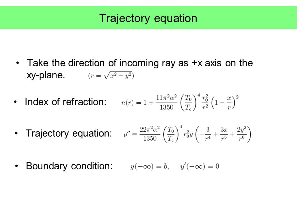 Trajectory equation Take the direction of incoming ray as +x axis on the xy-plane.