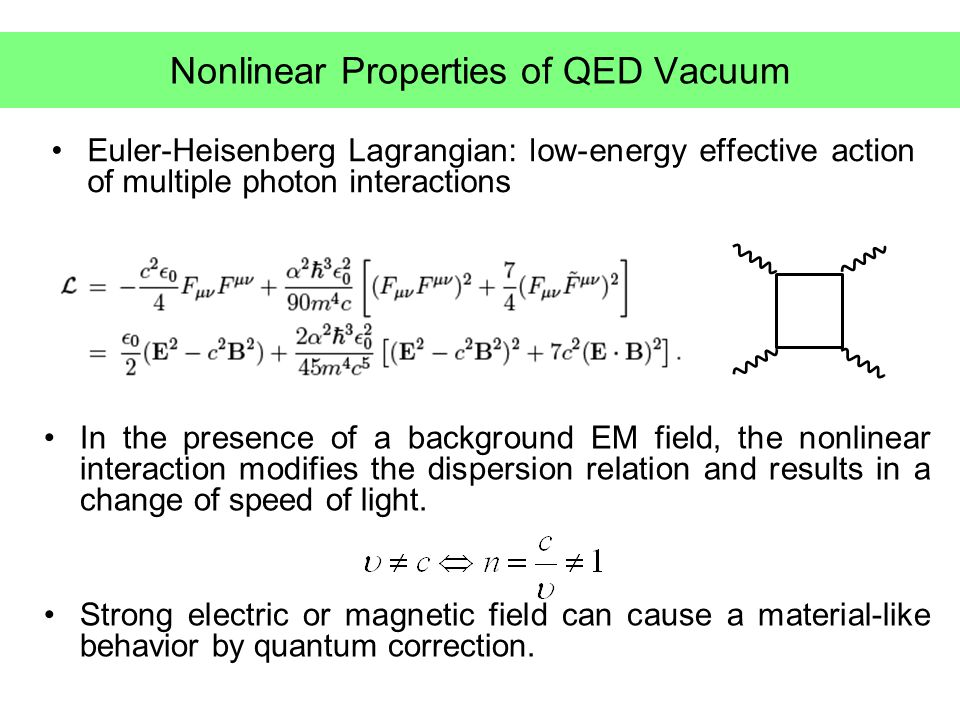 Speed of light in general non-trivial vacua Light cone condition for photons traveling in general non-trivial QED vacua effective action charge [Dittrich and Gies (1998)] For small correction,, and average over the propagation direction For EM field, two-loop corrected velocity shift agrees with the result from Euler-Heisenberg lagrangian