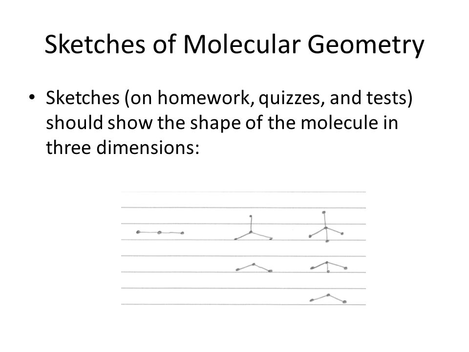 Sketches of Molecular Geometry Sketches (on homework, quizzes, and tests) should show the shape of the molecule in three dimensions: