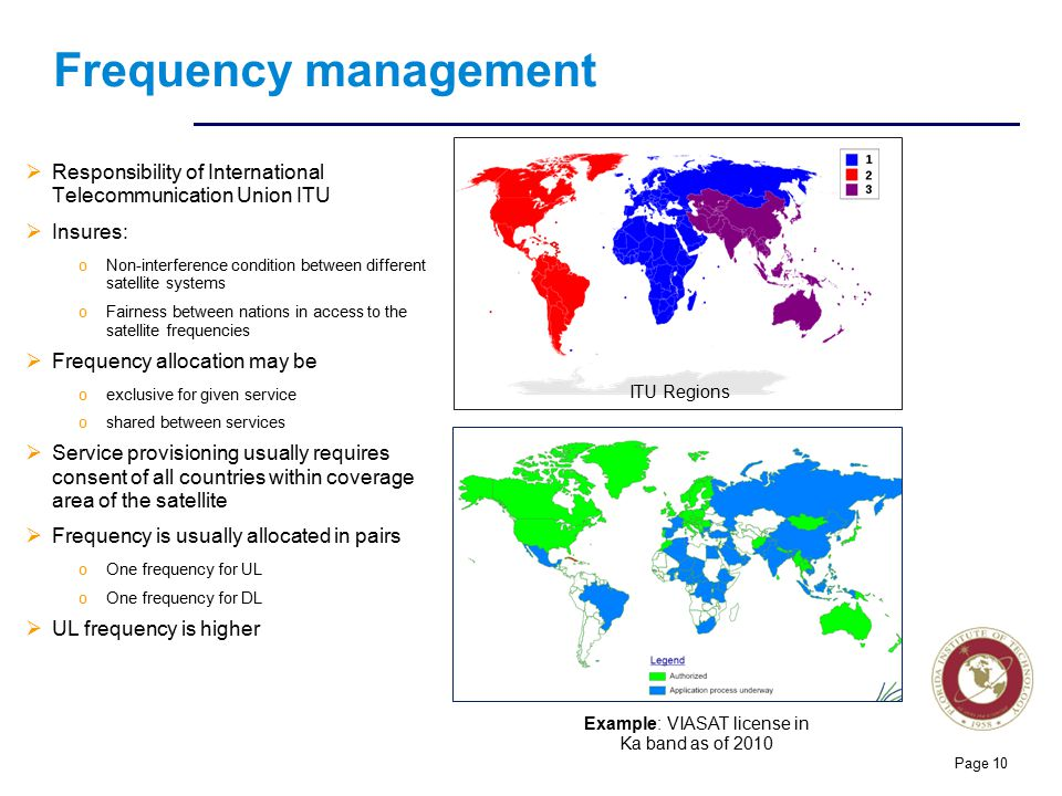 Florida Institute of technologies Frequency management  Responsibility of International Telecommunication Union ITU  Insures: oNon-interference cond