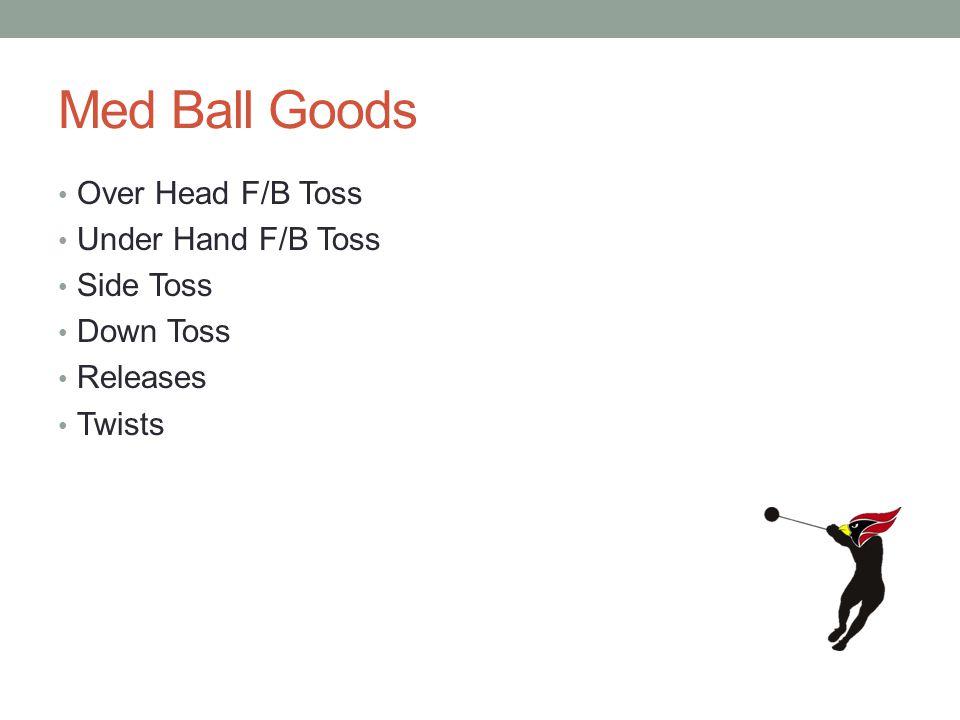 Med Ball Goods Over Head F/B Toss Under Hand F/B Toss Side Toss Down Toss Releases Twists