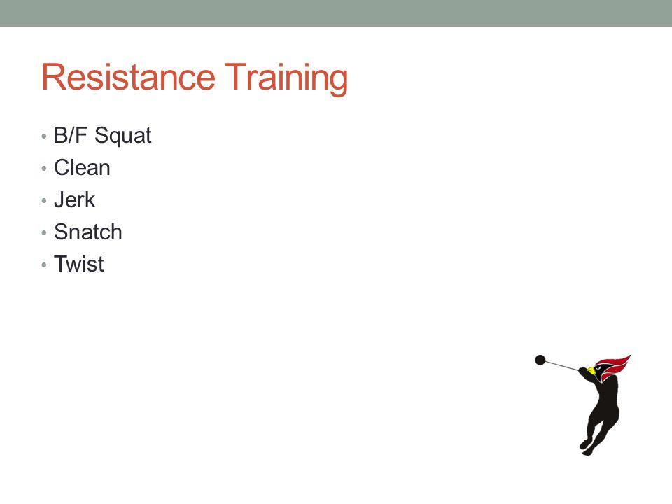 Resistance Training B/F Squat Clean Jerk Snatch Twist