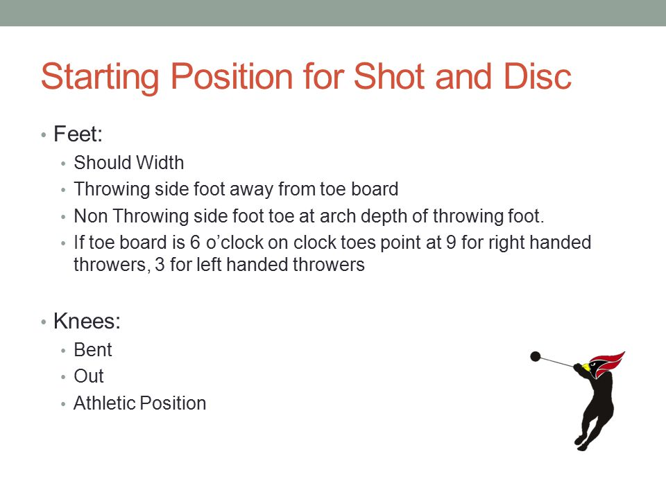 Starting Position for Shot and Disc Feet: Should Width Throwing side foot away from toe board Non Throwing side foot toe at arch depth of throwing foo