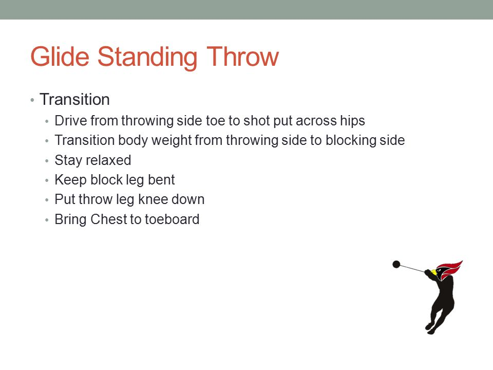 Glide Standing Throw Transition Drive from throwing side toe to shot put across hips Transition body weight from throwing side to blocking side Stay relaxed Keep block leg bent Put throw leg knee down Bring Chest to toeboard